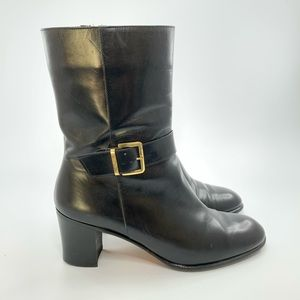 Salvatore Ferragamo black leather heeled boots